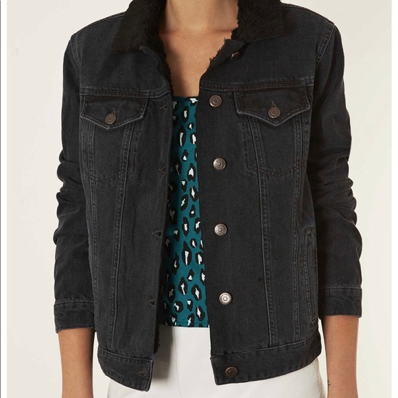 new lower prices free shipping excellent quality TOPSHOP Women's Moto Black Borg Denim Jacket